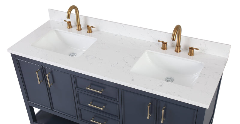 "60""  Tennant Brand Navy Blue Color Finish Double Sink Bathroom Vanity - Felton  # 7330-D60NB"