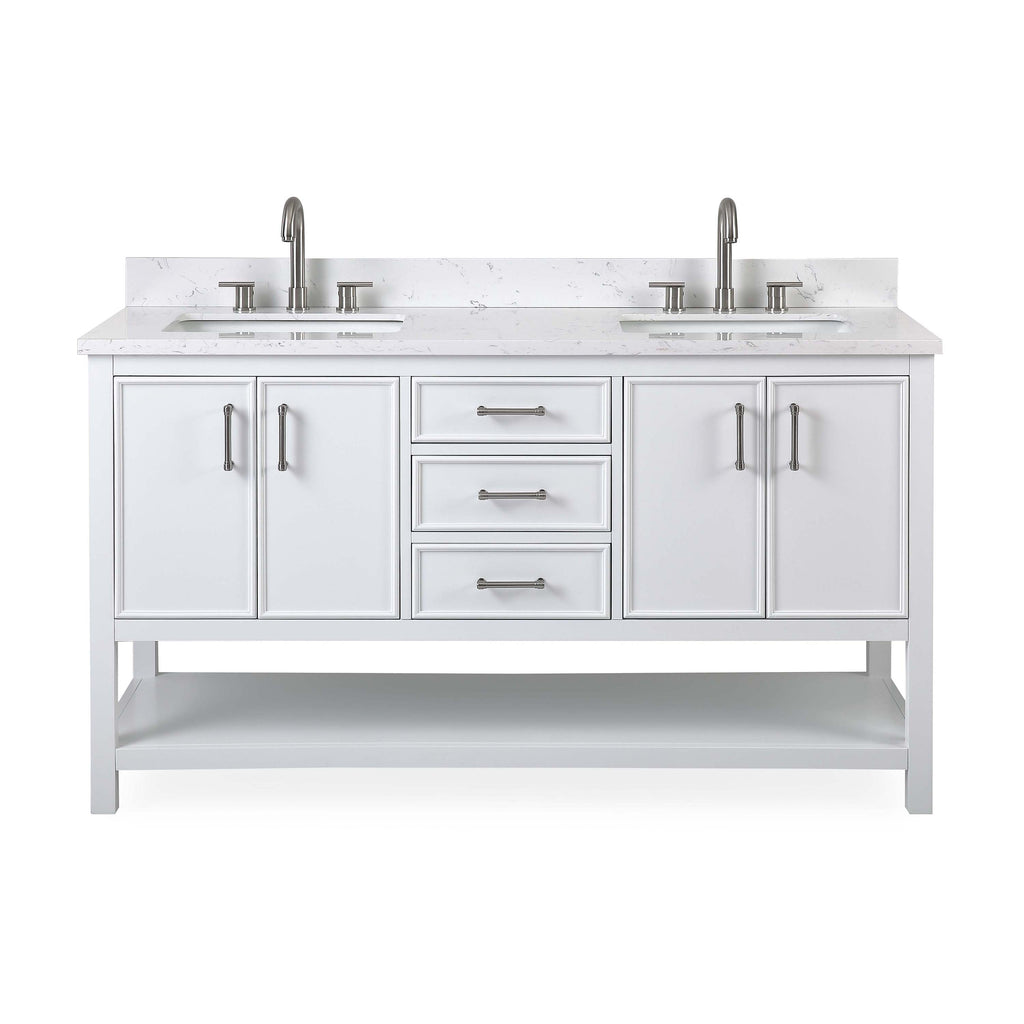 "60""  Tennant Brand White Color Finish Double Sink Bathroom Vanity - Felton  # 7330-D60W"