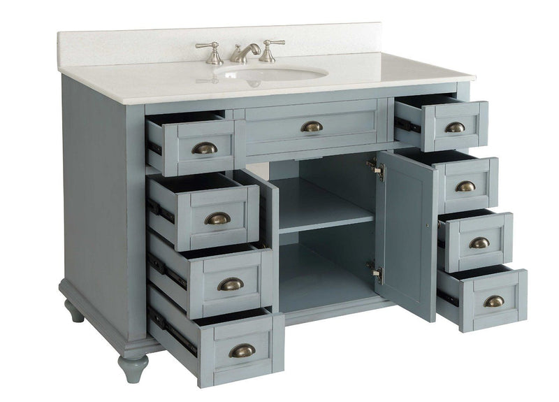 "49"" Vintage Blue Cottage Glennville Bathroom Sink Vanity - GD-28328BU-BS   (Blue) - Chans Furniture - 3"