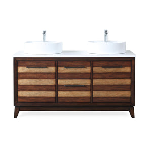 "63"" Tennant Brand Arturas double sinks Sink bathroom vanity - TB-9455-V63 - Light brown"