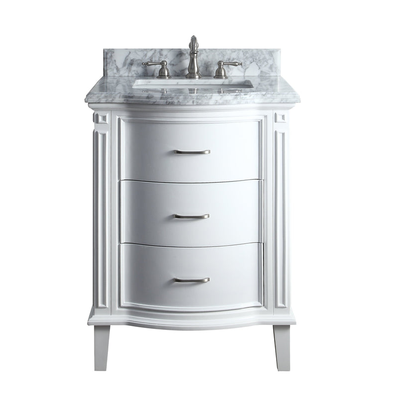 "26"" Benton Collection Italian Carrra Marble White Tigan Bathroom Sink Vanity  # GD-9731"