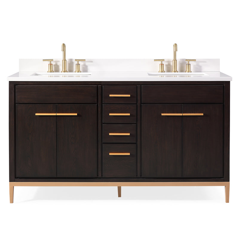 "60""  Tennant Brand Modern Style Beatrice Double Sink Bathroom Vanity - TB-9838-D60DK"