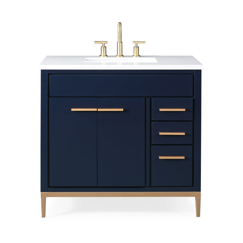 36 Tennant Brand Beatrice Navy Blue Modern Bathroom Sink Vanity Tb 98