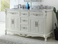 "64"" Benton Collection Verondia Vintage Style Vanilla Beige Bathroom Vanity CF-5364-64"