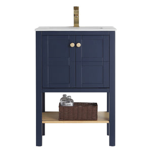 "24"" Tennant Brand Arola Small Slim Narrow Navy Blue Bathroom Vanity - CL-208NB-24"