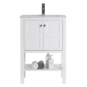 "24"" Tennant Brand Arola Small Slim Narrow White Bathroom Vanity - CL-208W-24"