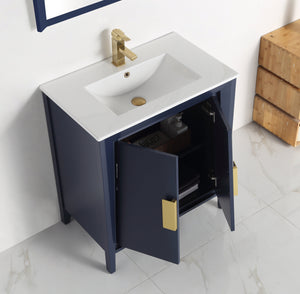 "30"" Tennant Brand Larvotto Navy Blue Contemporary Bathroom Vanity - CL-22NB30-ZI"