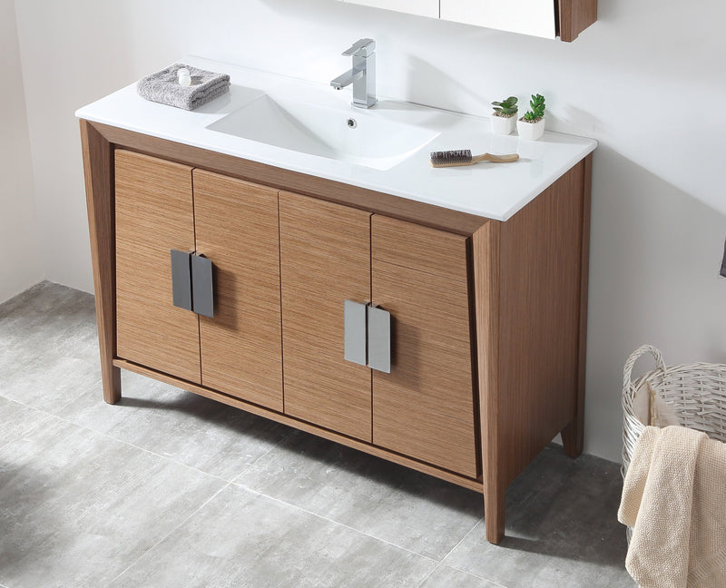 "48"" Larvotto Light Wheat Color Modern Bathroom Sink Vanity CL-22WV47-ZI"