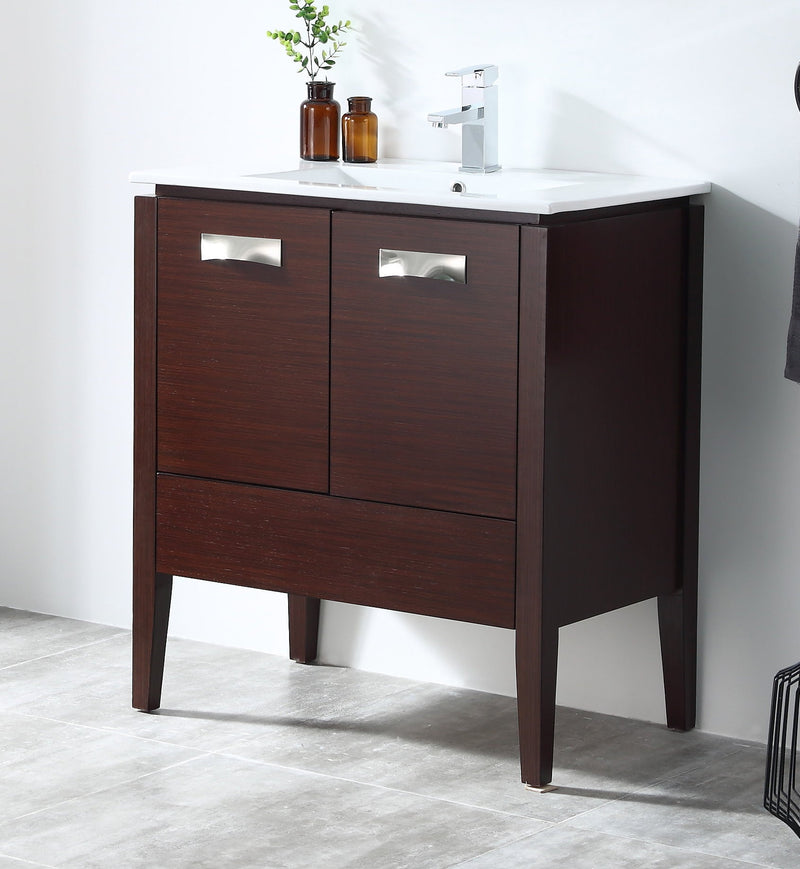 "30"" Tennant Brand Adagio Wenge Finish Bathroom Sink Vanity - CL-409WE30-ZI"