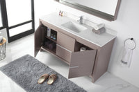 "60"" Tennant Brand VIARA Modern Style Bathroom Sink Vanity wit Quartz top-CL10-GO60-QT"