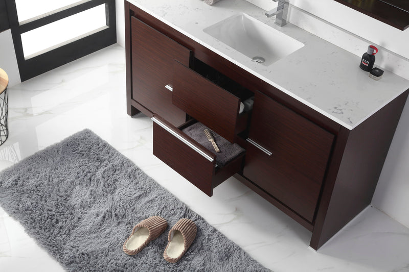 "60"" Tennant Brand VIARA Modern Style Bathroom Sink Vanity wit Quartz top-CL10-WE60-QT"