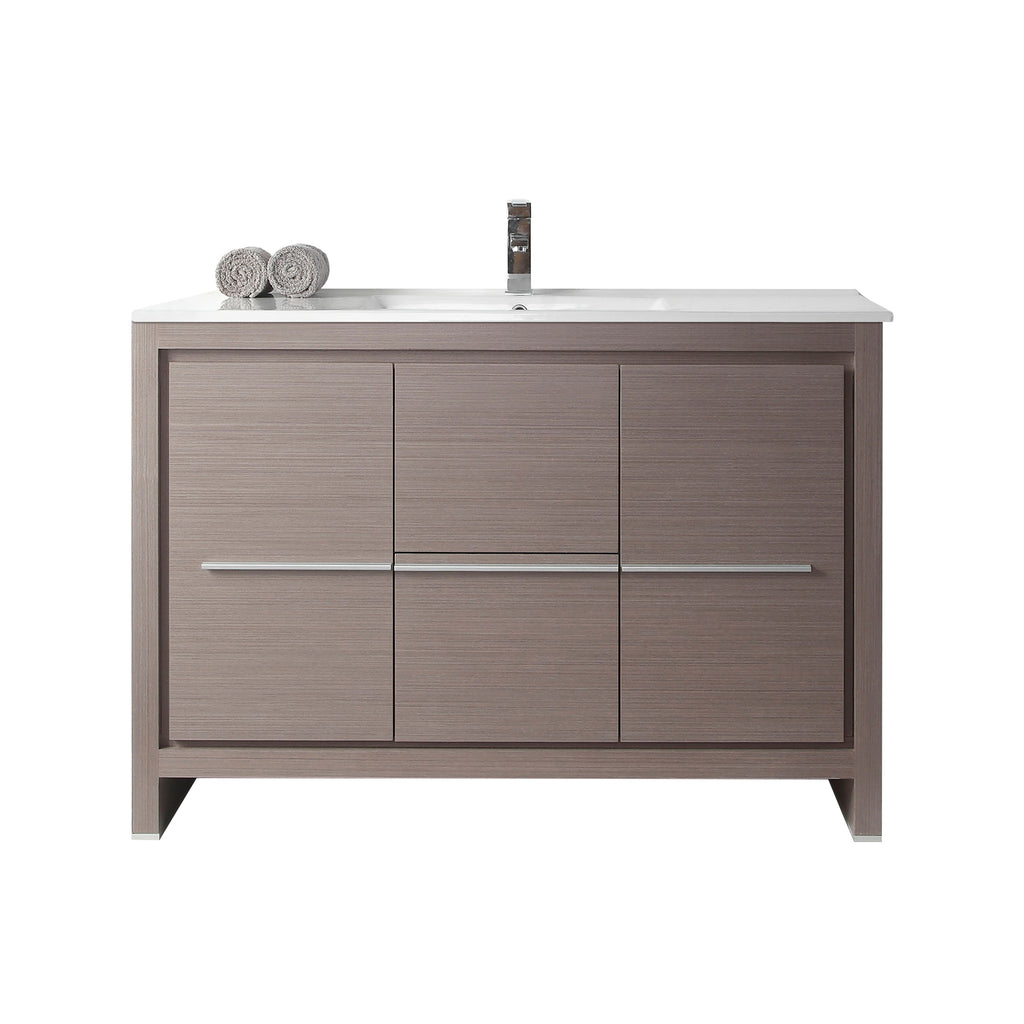 "48"" Tennant Brand VIARA Modern Style Vanity - Bathroom Sink Vanity in Gray Oak Finish   -  CL10-GO48-ZI"