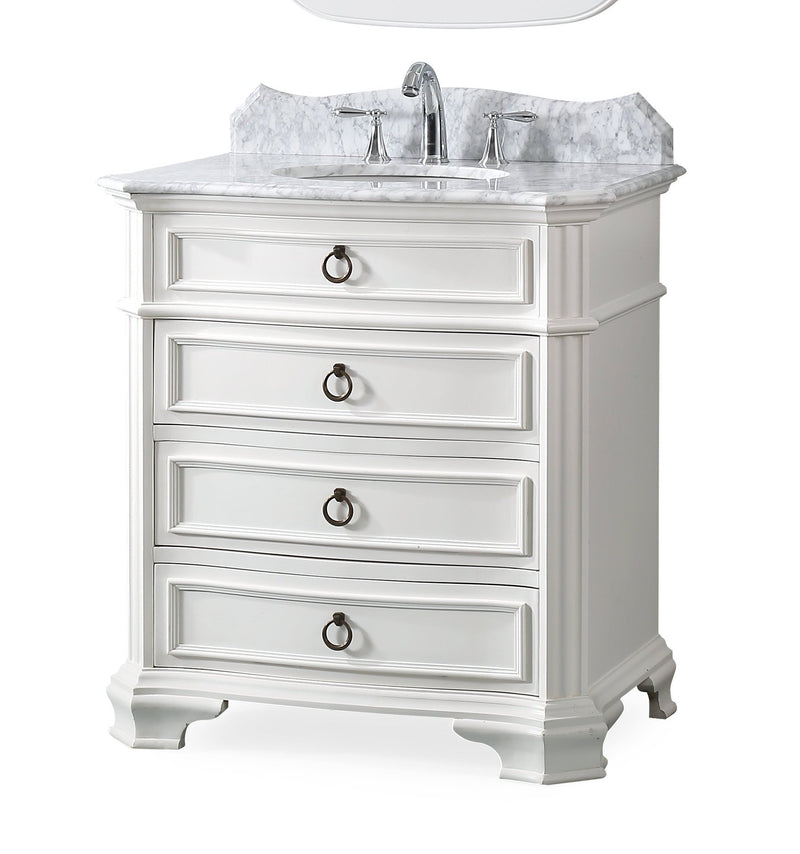 "32"" Benton Collection Carrara Marble top Termoli Bathroom Sink Vanity - Model # GD-2033W"