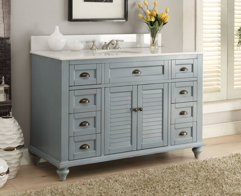 "49"" Benton collection Vintage Blue Cottage Glennville Bathroom Sink Vanity - GD-28328BU"