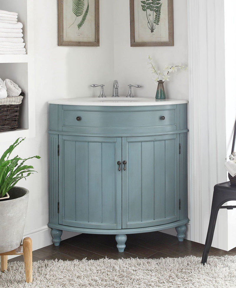 "24"" Light Blue Thomasville Corner bathrrom sink Vanity  # GD-47544BU - Chans Furniture - 2"