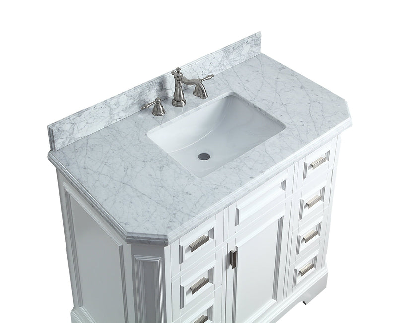 "42"" Carrara marble White Bertone Bathroom Sink Vanity - Model # GD-9722-42"
