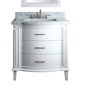 "34"" Benton Collection Italian Carrra Marble White Tigan Bathroom Sink Vanity  # GD-9733"