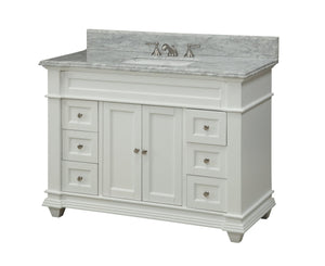 "48"" Kerianne Bathroom sink vanity cabinet Model HF-1084 (Carrara/White) - Chans Furniture - 3"