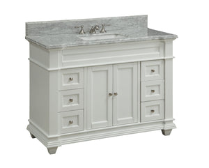 "48"" Kerianne Bathroom sink vanity cabinet Model HF-1084 (Carrara/White) - Chans Furniture - 2"