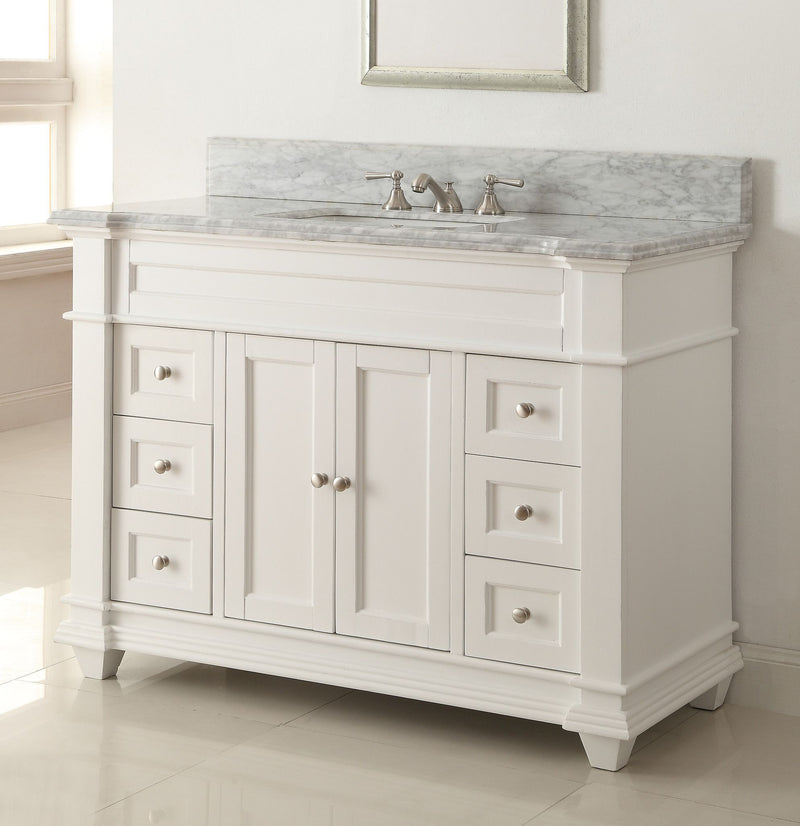 "48"" Kerianne Bathroom sink vanity cabinet Model HF-1084 (Carrara/White) - Chans Furniture - 1"
