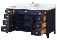 "60"" All wood construction Navy Blue Kalani Bathroom Sink Vanity - 3028NB60S"