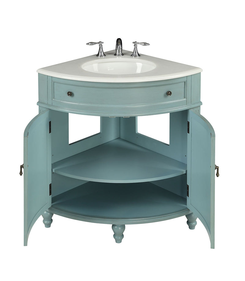 "24"" Light Blue Thomasville Corner bathrrom sink Vanity  # GD-47544BU - Chans Furniture - 3"