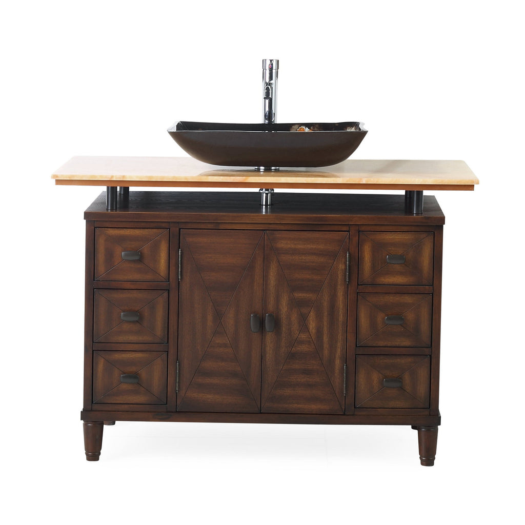 "48"" Benton Collection Onyx counter top Verdana Vessel Sink Bathroom Vanity  Model #  Q0136-8X"