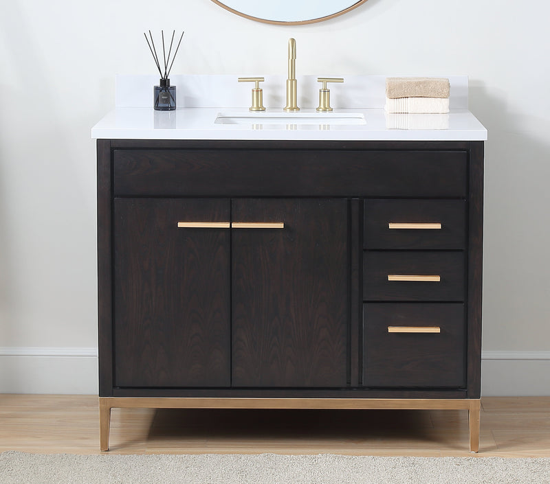 "42""  Tennant Brand Modern Style Beatrice Bathroom Sink Vanity - TB-9433DK-V42 Wenge color"