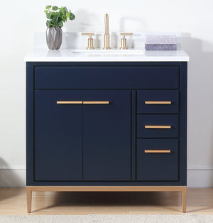 "36""  Carrara Marble Beatrice Navy Blue Modern Bathroom Sink Vanity TB-9888NB-V36RA"