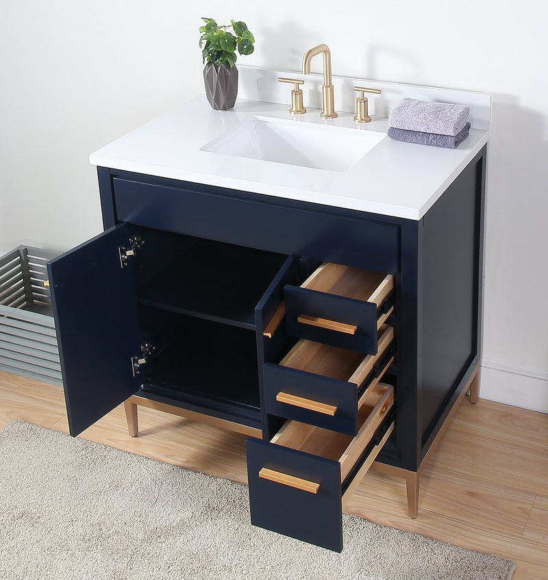 "36""  Tennant Brand Beatrice Navy Blue Modern Bathroom Sink Vanity TB-9888NB-V36"