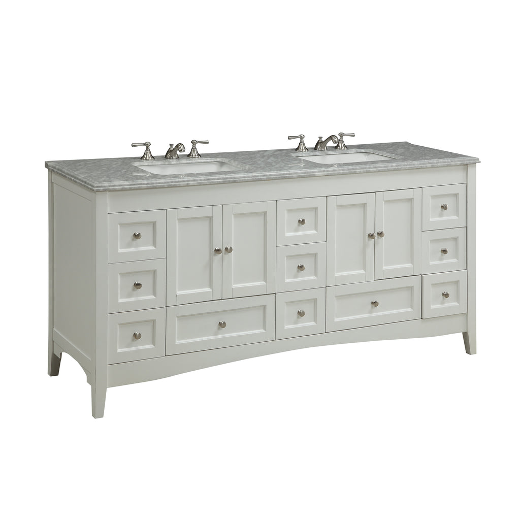 "72"" Benton Collection Italian Carrara Marble Kenly double sink bathroom vanity # ZK-1086"