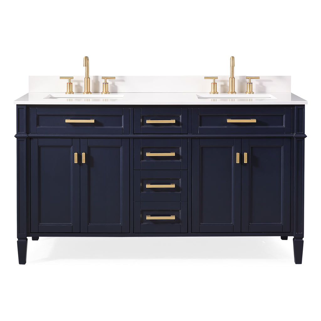 "60"" Tennant Brand Durand Modern Navy Blue Double Sink Bathroom Vanity 1808-D60NB"