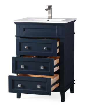 "24"" Tennant Brand Felix Modern Navy Blue Sink Bathroom Vanity 1810-Z24NB"