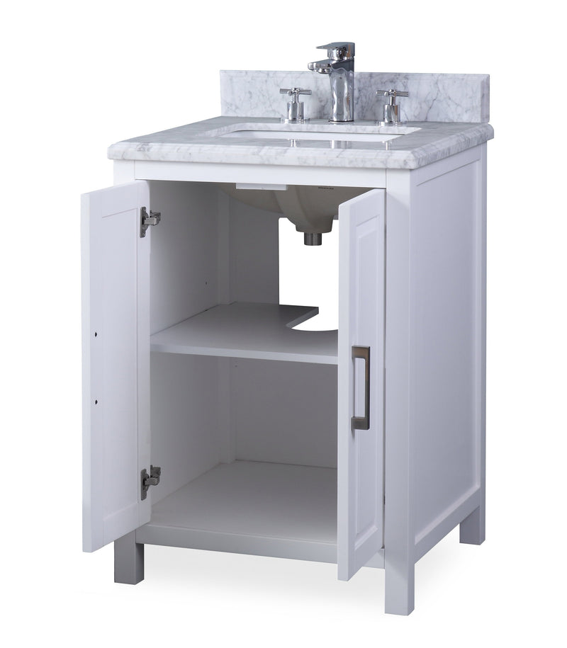 "24"" Tennant Brand Fletcher Contemporary White Bathroom Vanity ZK-8154A"