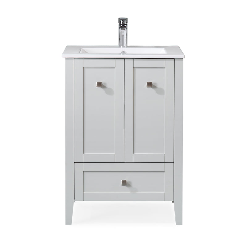"25"" Tennant Brand Vermezzo Modern Small Slim Gray Bathroom Vanity WFS-85029CK"