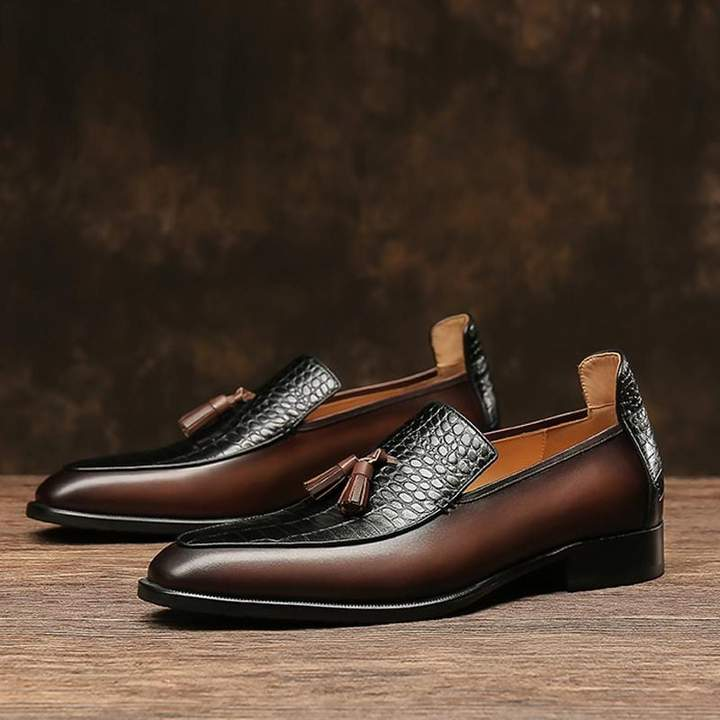 Crocodile Pattern Handmade Leather Loafers