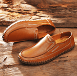 Men Genuine Leather Hand Stitching Soft Sole Slip On Oxfords