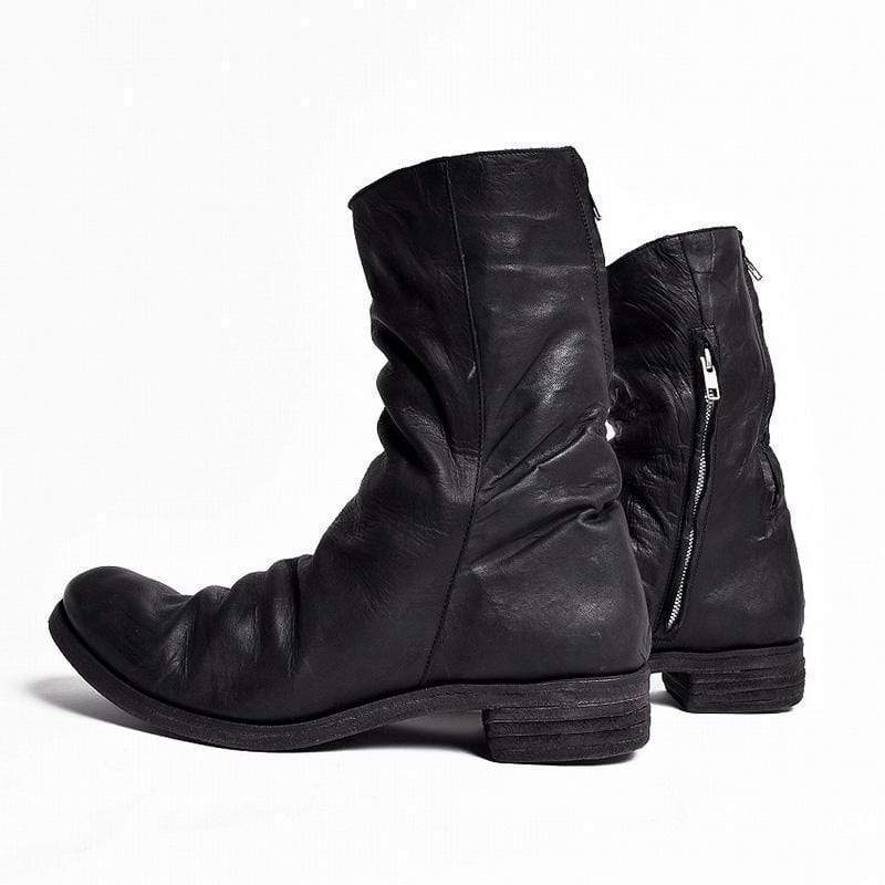 Double Zippers Pleated Leather Boots