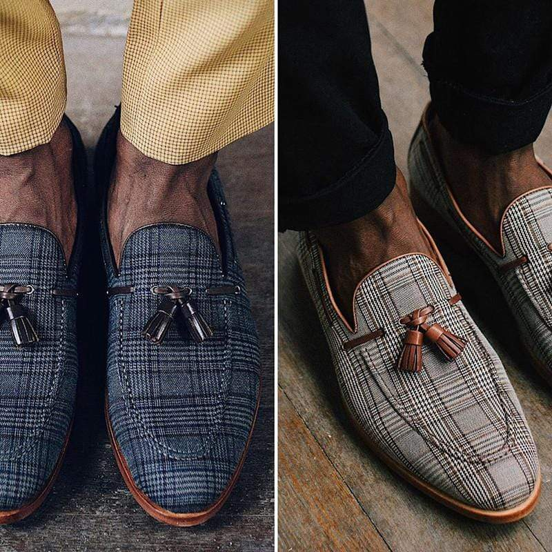Retro Plaid Pattern Tassel Loafers