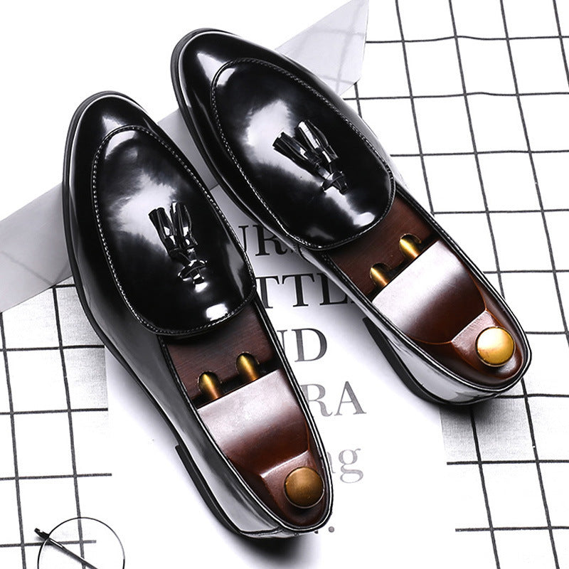 Patent leather color men's shoes peas shoes