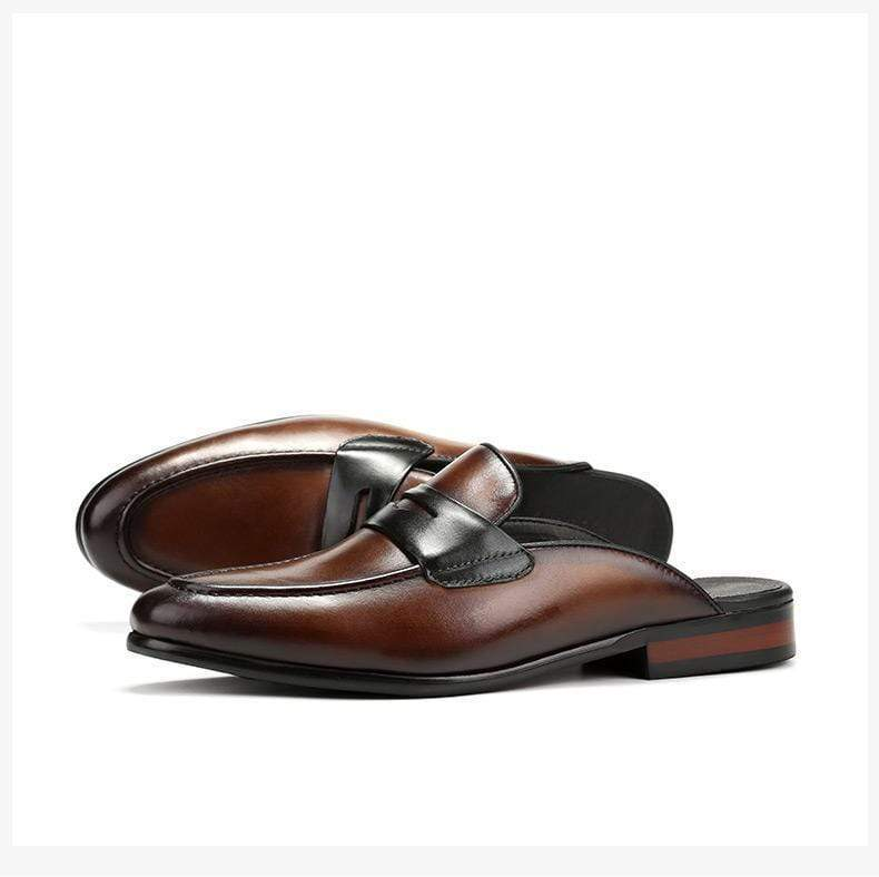 Men Leather Half Drag British Lazy Shoes