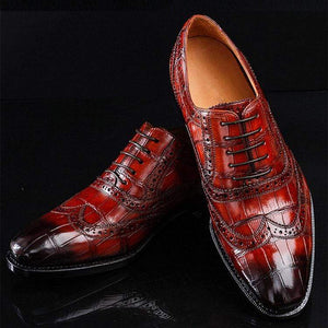 Lace-up Crocodile Brogue Gradient Leather Shoes