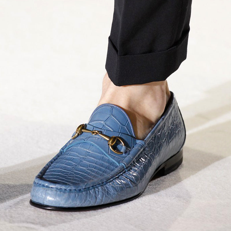Men's Buckle Crocodile Pattern Loafers
