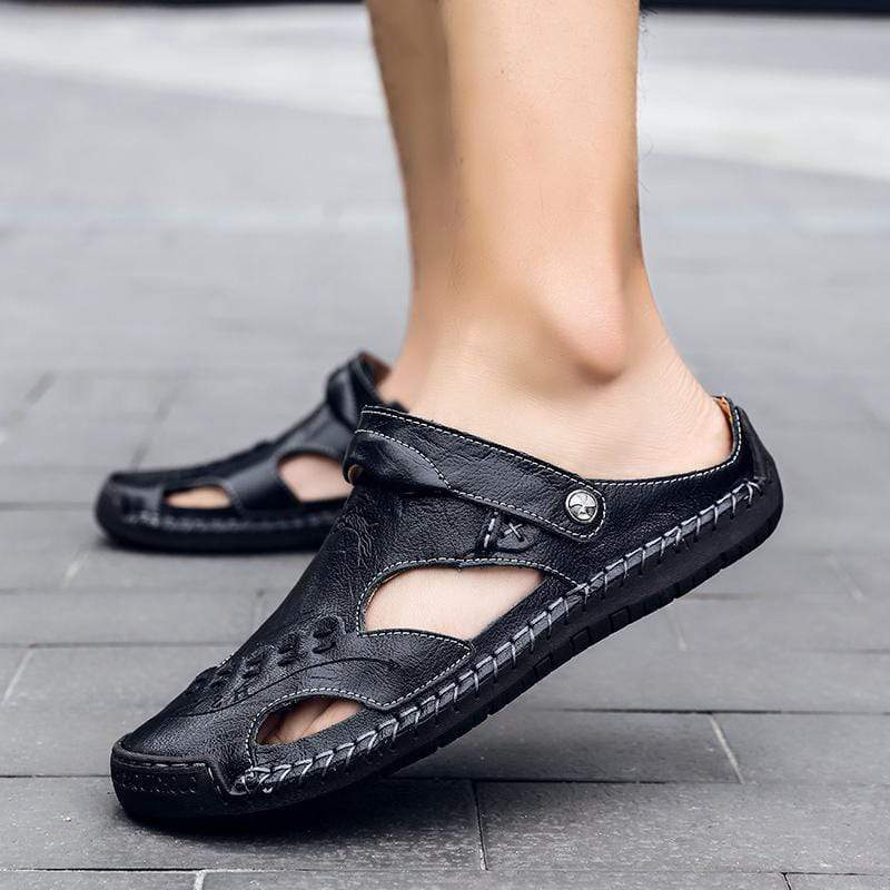 Large Size Hand Stitching Soft Sole Closed Toe Sandals