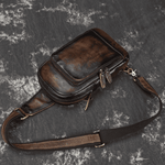 Vintage Genuine Leather Chest Bag Shoulder Bag Crossbody Bag