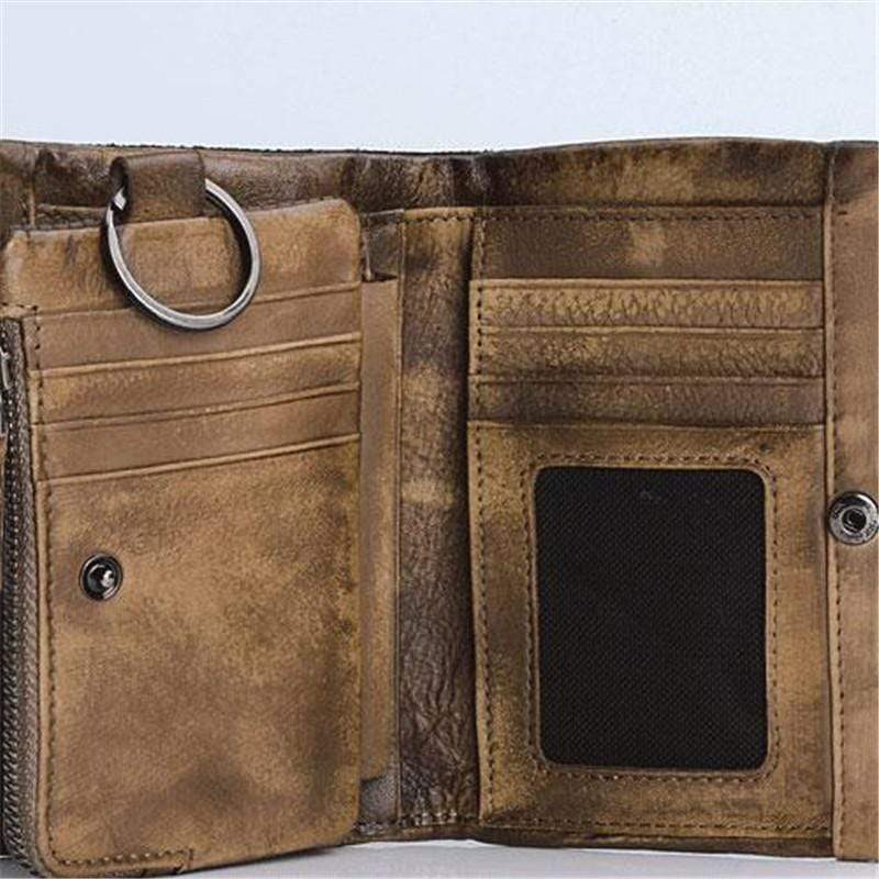 Zipper Buckle Leather Wallet