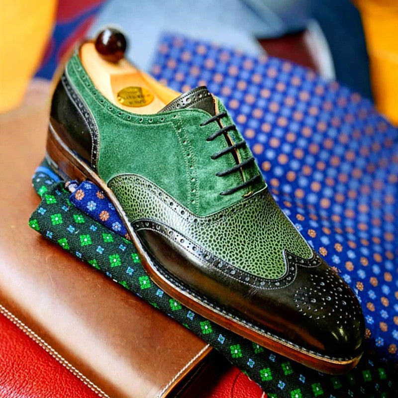 Men's Retro Colorful Splicing Brogue Shoes