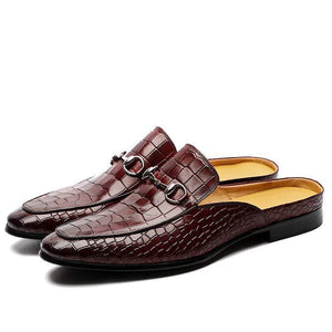 Crocodile Pattern Slip On Leather Shoes