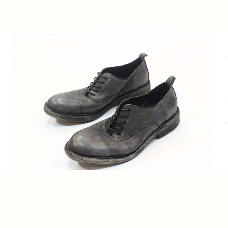 Men's Vintage Round-top Handmade Leather Derby Shoes