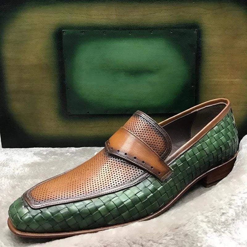 Hand-woven Breathable Leather Loafers